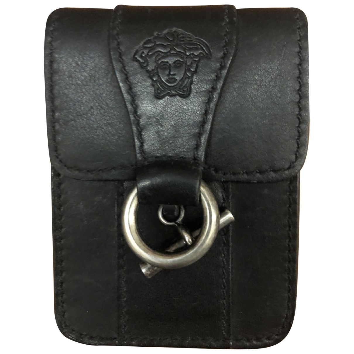 Versace \N Kleinlederwaren in  Schwarz Leder
