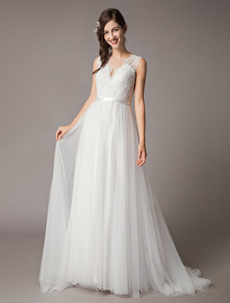Milanoo Wedding Dresses Lace Tulle Ivory V Neck A Line Beach Bridal Gowns