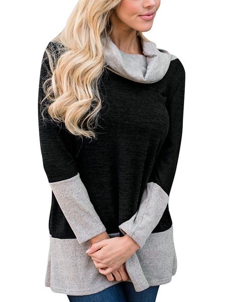 Yoins Black Color Block  Cozy Roll Neck Colorblock Sweatshirt
