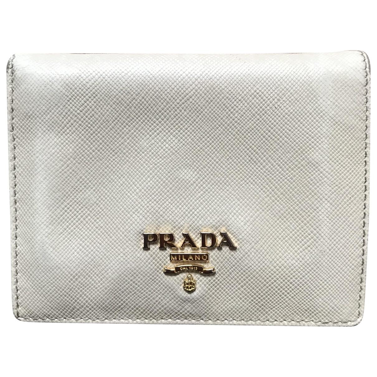 Prada - Portefeuille   pour femme en cuir - blanc