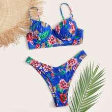 Bañador bikini cortado alto con aro floral