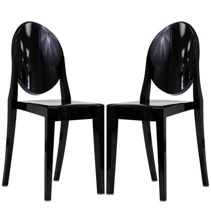 Casper Collection EEI-906-BLK Set of 2 Dining Side Chairs with Injection Molding  Tapered Legs  Oval Shaped Backrest  Armless and Polycarbonate