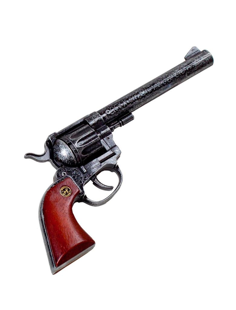 Kostuemzubehor Pistole Buntline Holzgriff 26cm 12-Schuss Farbe: silber