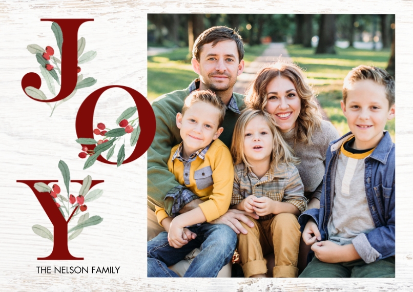 Christmas Photo Cards 5x7 Cards, Premium Cardstock 120lb with Elegant Corners, Card & Stationery -Christmas Joy Foliage by Tumbalina