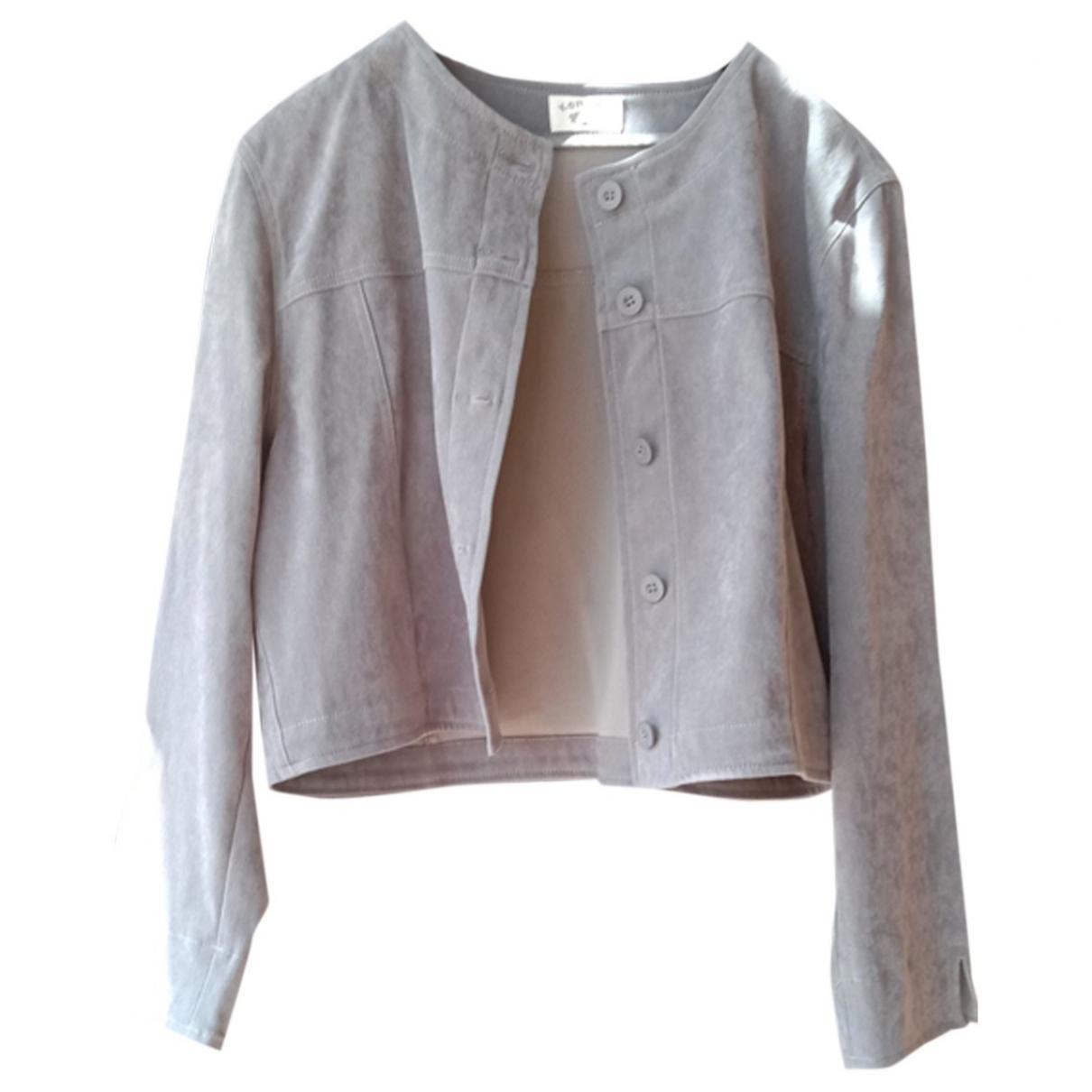 - Veste   pour femme en suede - gris