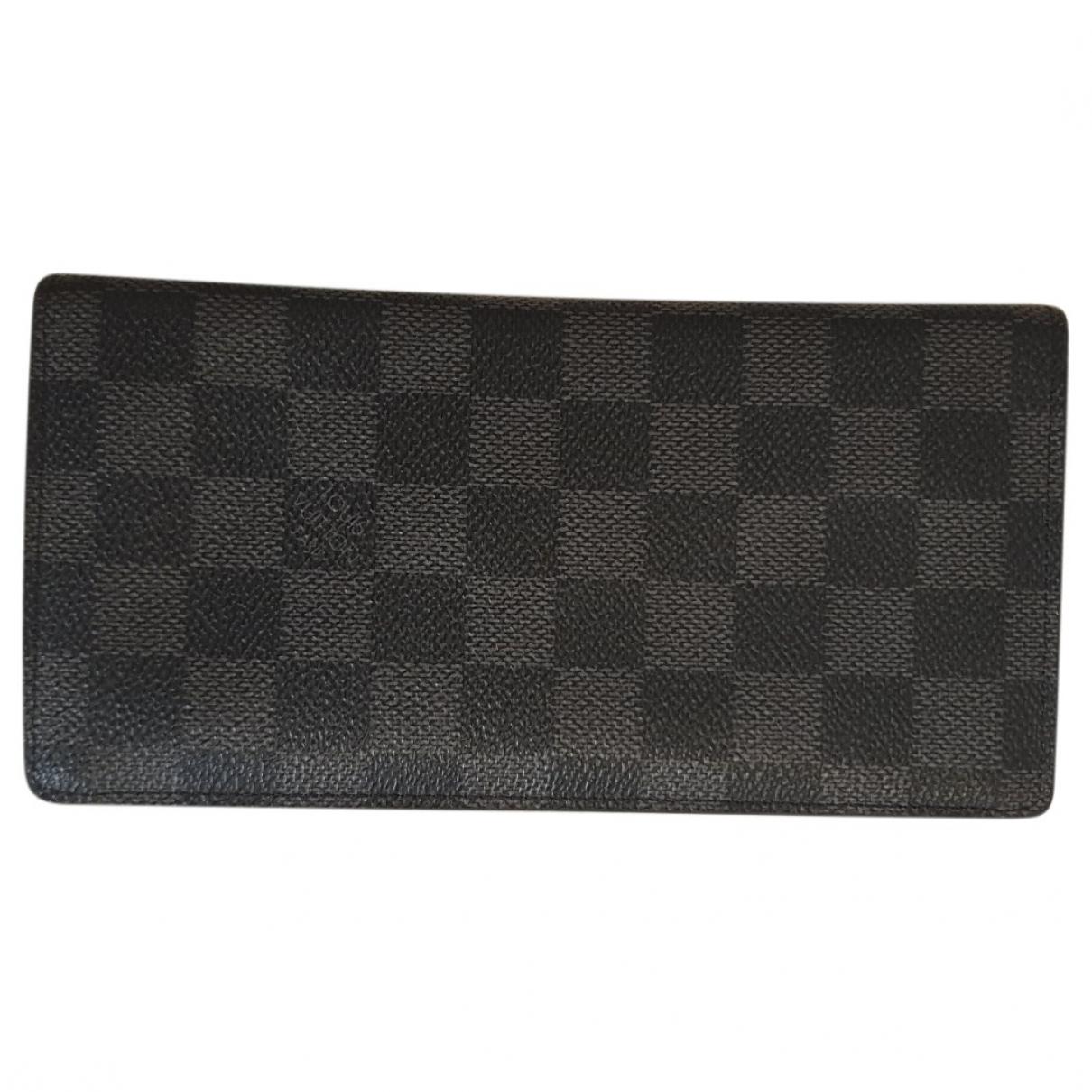 Louis Vuitton - Petite maroquinerie Brazza pour homme en toile - anthracite