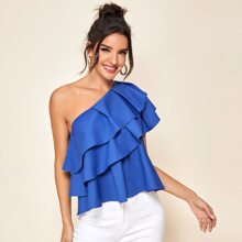 One Shoulder Exaggerated Ruffle Trim Top