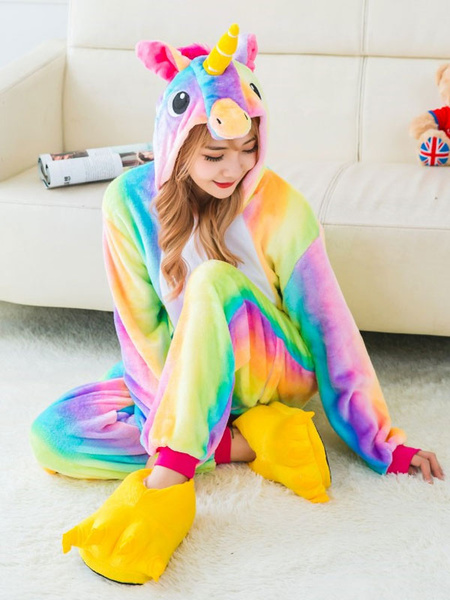 Milanoo Dreaming Unicorn 2020 Kigurumi Pajamas Flannel Winter Sleepwear Halloween Costume