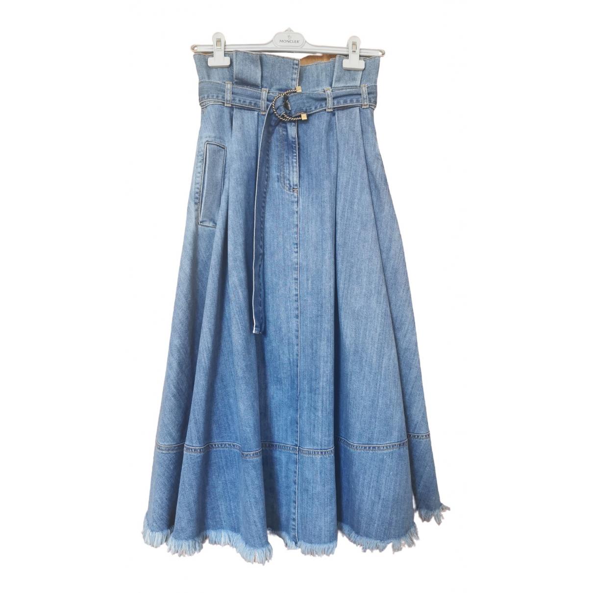 Elisabetta Franchi \N Blue Denim - Jeans skirt for Women 42 IT