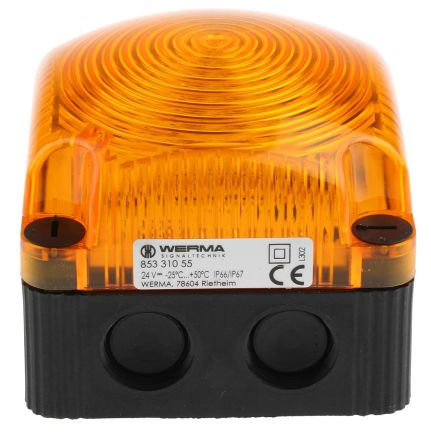 Werma 853 Yellow LED Beacon, 24 V dc, Blinking, Surface Mount, Wall Mount