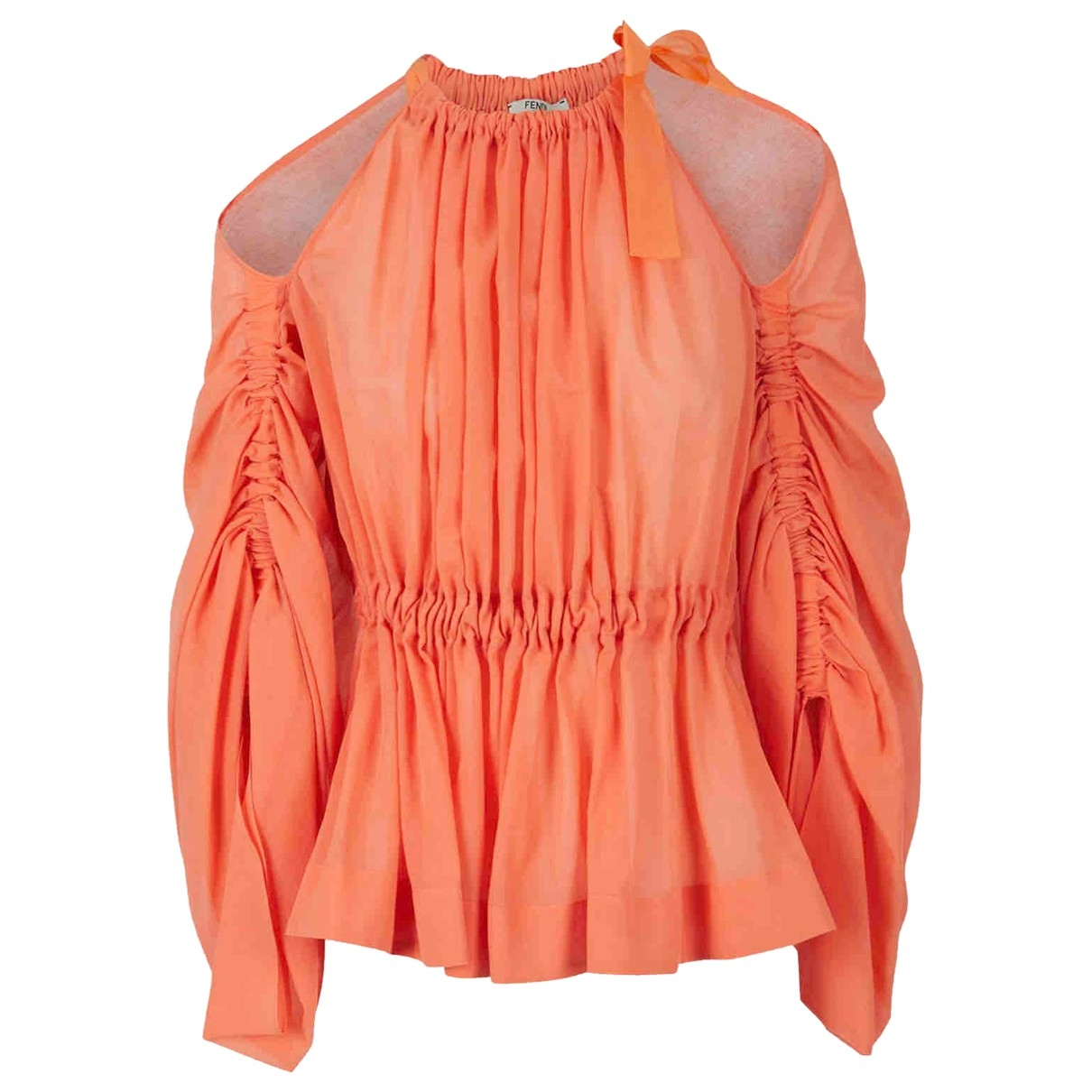 Fendi - Top   pour femme en coton - orange