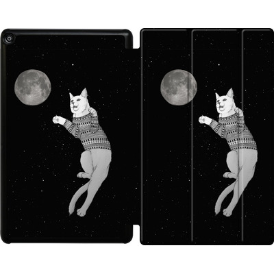 Amazon Fire HD 10 (2017) Tablet Smart Case - Hipster Cat Trying to Catch the Moon von Barruf