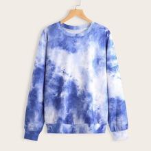 Tie Dye Print Drop Shoulder Sweatshirt