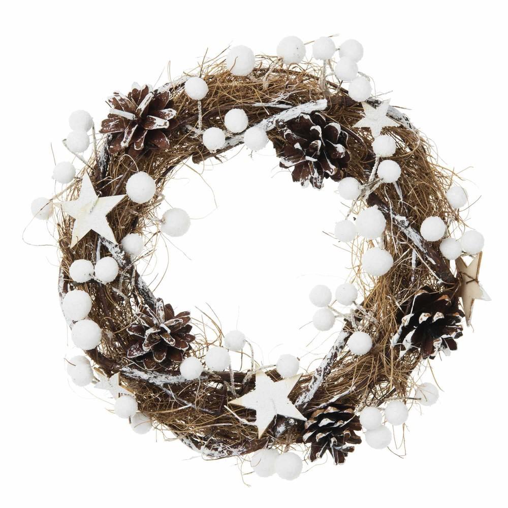 Weihnachtskranz mit Sternen und Kugeln als Dekor, weiss D26