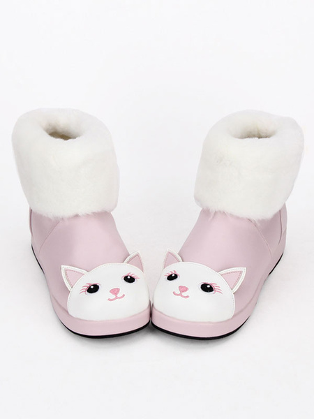 Milanoo Sweet Lolita Boots Cute Pink Cat Snow Boots Round Toe Lolita Ankle Boots