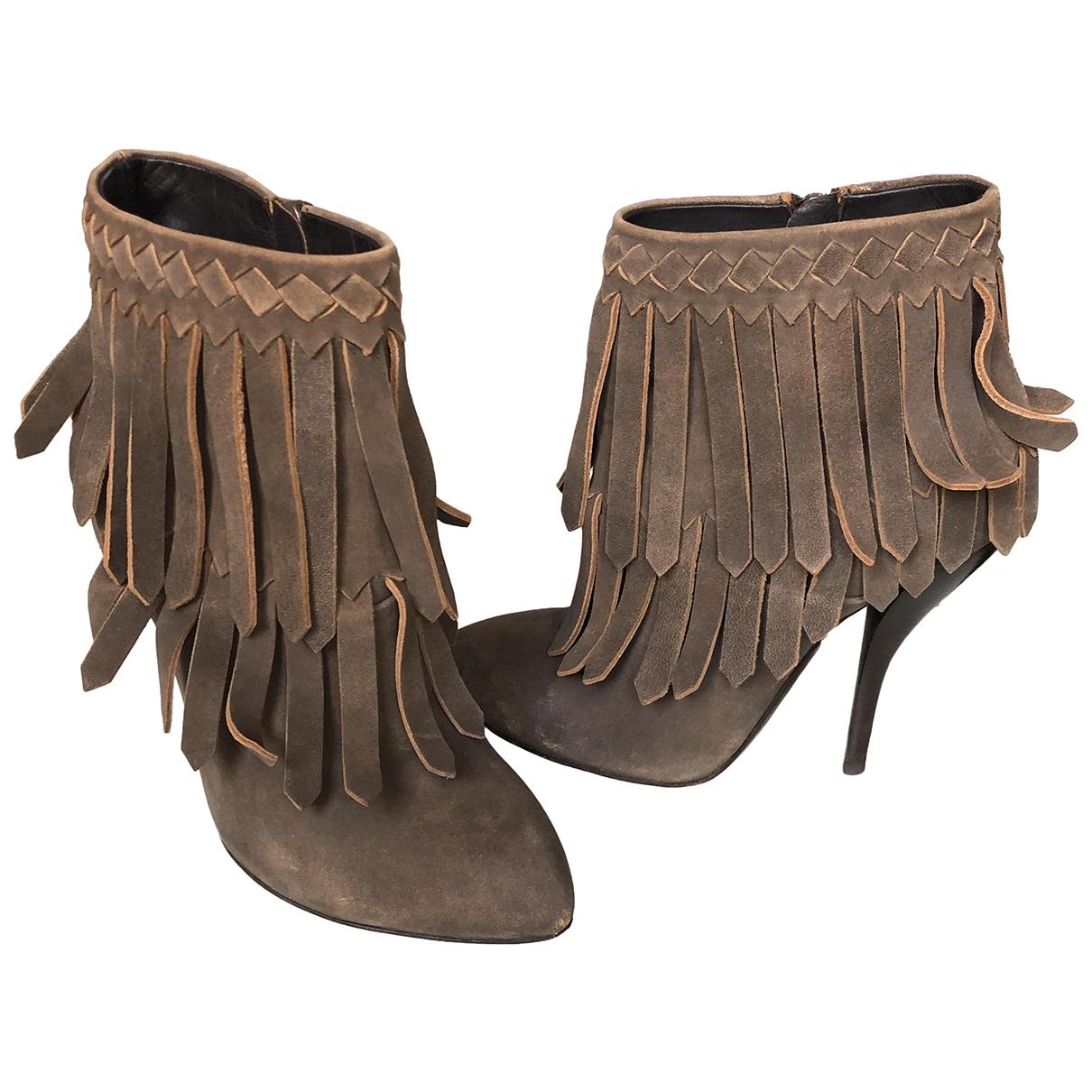 Bottega Veneta - Boots   pour femme en suede - gris