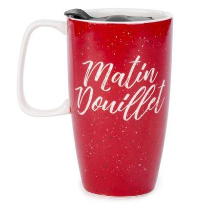 Red travel mug - matin douillet 3.5 X 6