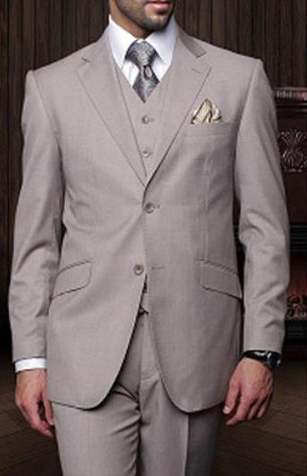Statement Mens Tan 3 Piece 2 Button Italian Designer Suit