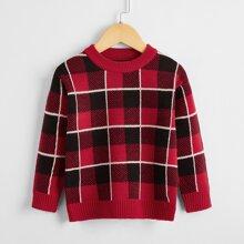 Pullover mit Karo Muster und rundem Kragen