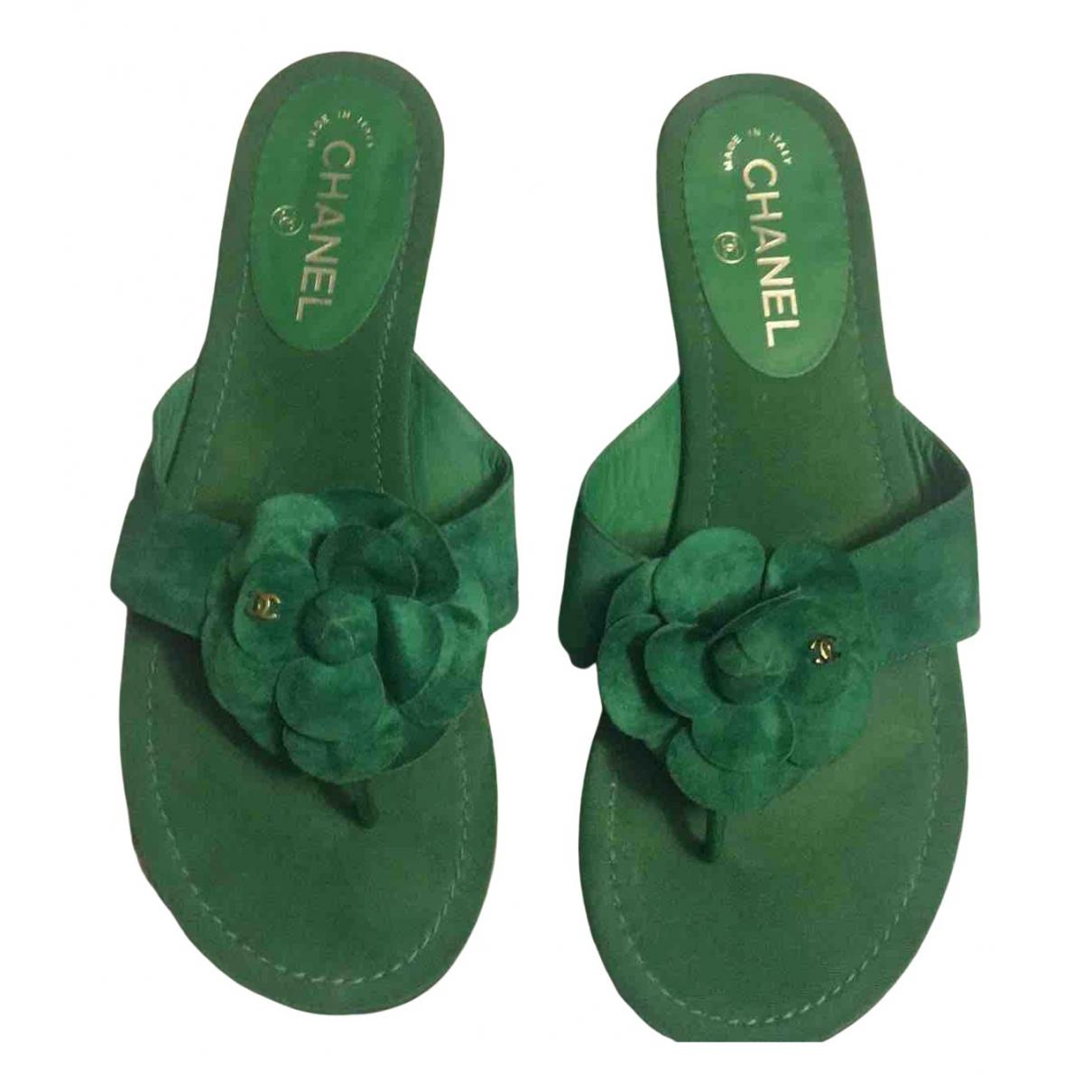Chanel - Sandales   pour femme en suede - vert
