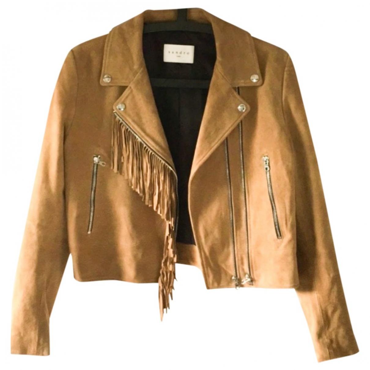 Sandro Spring Summer 2020 Camel Leather jacket for Women 38 FR