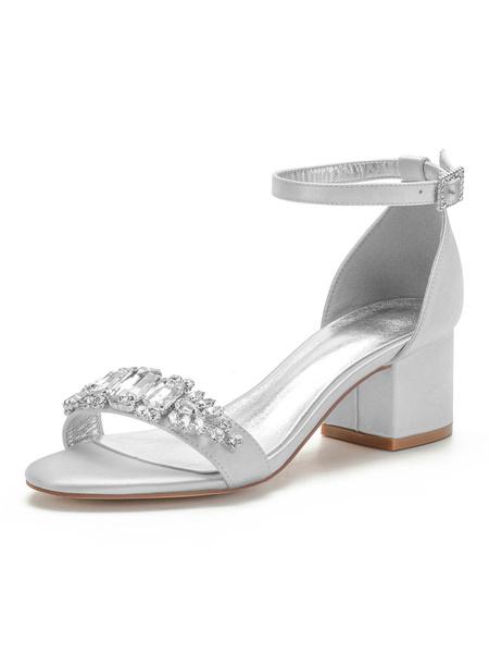 Milanoo Wedding Shoes White Satin Rhinestones Pointed Toe Ankle Strap Chunky Heel Bridal Shoes