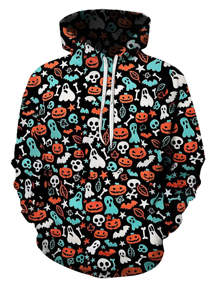 Halloween Ditsy Pattern Front Pocket Drawstring Hoodie