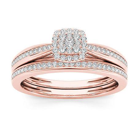 Womens 1/4 CT. T.W. Genuine White Diamond 10K Rose Gold Bridal Set, 7 1/2 , No Color Family