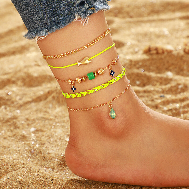 Bohemian Metal Flower Water Drop Gemstone Pendant Anklet Fluorescent Green Woven Fish Multi-layer Anklet