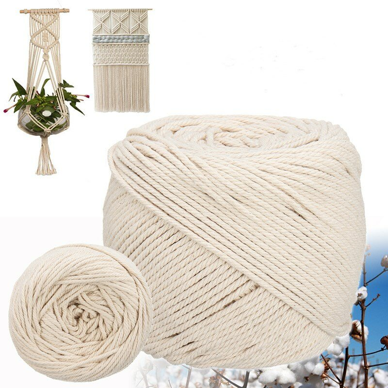 6/8/10/12M Length 0.31inch Diameter Cotton Rope Sash Cord White TwineNatural 3 Strand