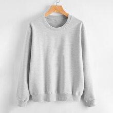 Einfarbiges Sweatshirt mit rundem Kragen
