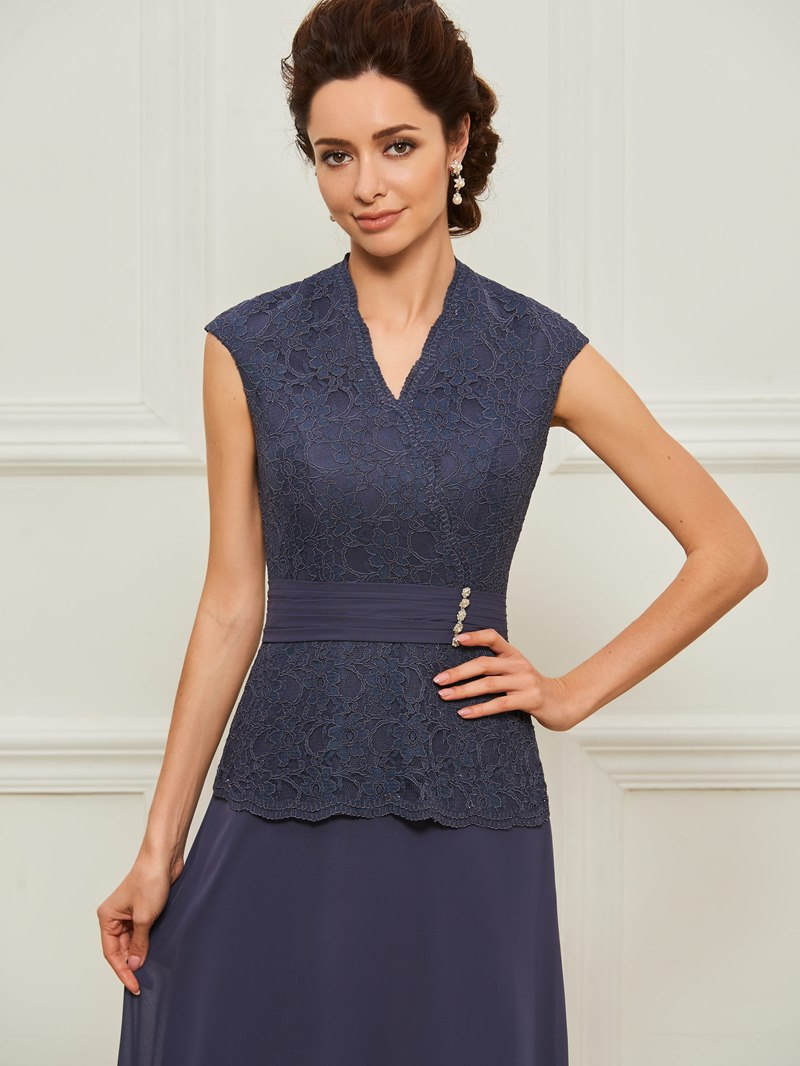 Ericdress Beading Cap Sleeve Lace Mother of the Bride Dress