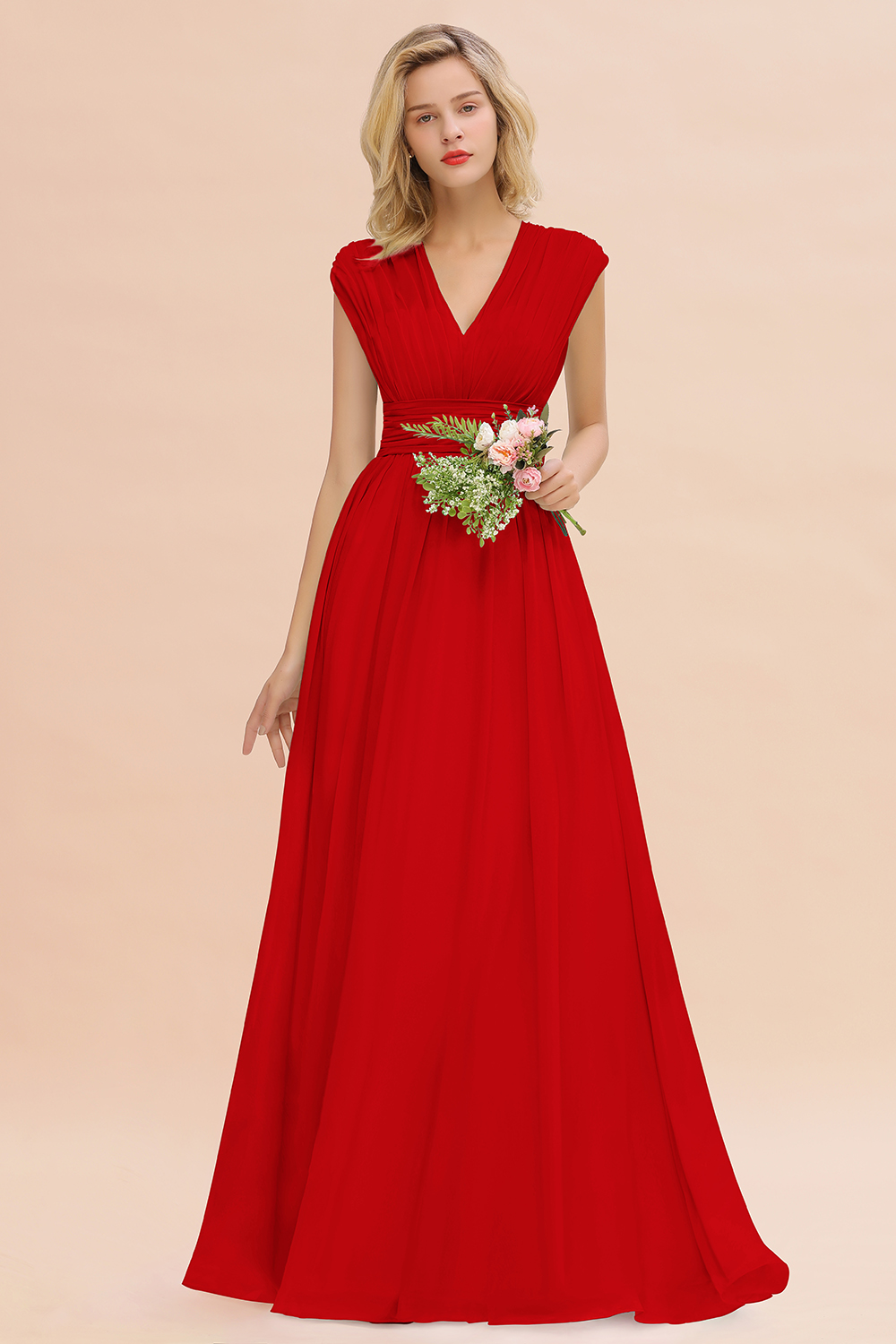 BMbridal Elegant Chiffon V-Neck Ruffle Long Bridesmaid Dresses Affordable