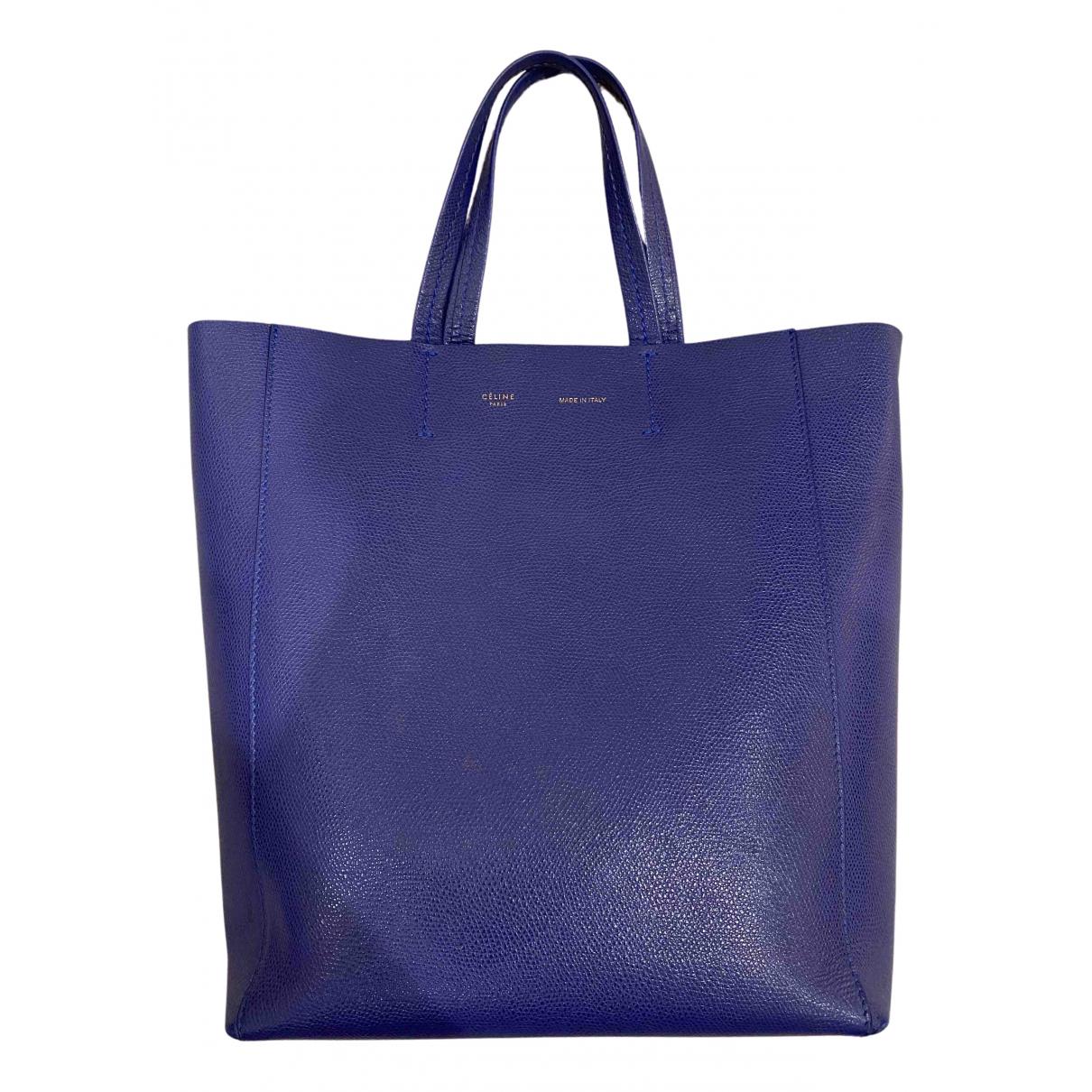 Celine Cabas Handtasche in  Blau Leder