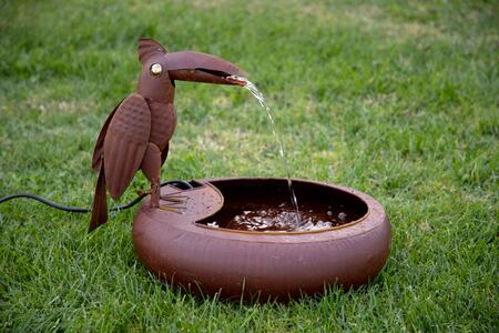 Alpine NCY358 16 Tall Toucan Bird Fountain with 1-Year Manufacturers Warranty  Mouth Flapping Action  Pump Included and Iron Metal Material in