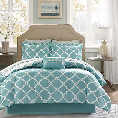 Madison Park Essentials Concord Reversible Complete Bedding Set with Sheets, One Size , Blue
