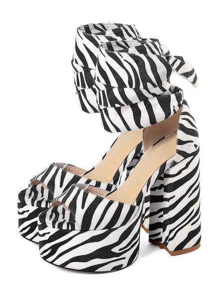 Milanoo Platform High Heel Sandals Womens Snakeskin Lace Up Peep Toe Chunky Heel Sandals