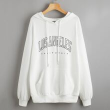 Drawstring Detail Pocket Front Letter Graphic Hoodie