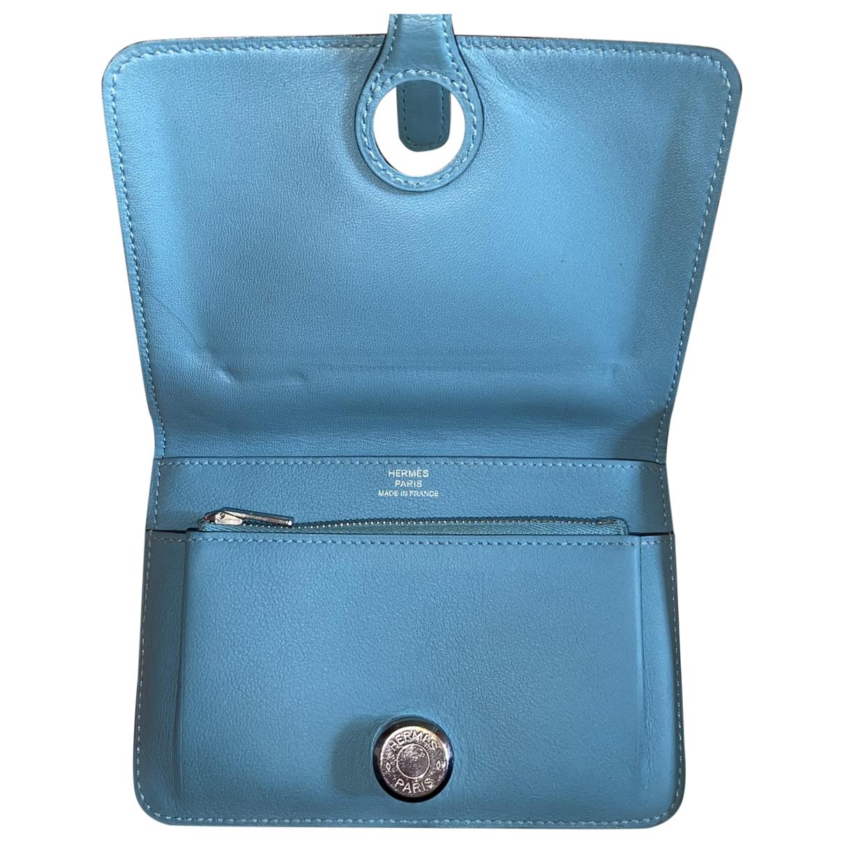 Hermes - Petite maroquinerie Dogon pour femme en cuir - bleu
