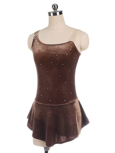 Milanoo Skating Dress Coffee Brown Korean Velvet Dance Costumes