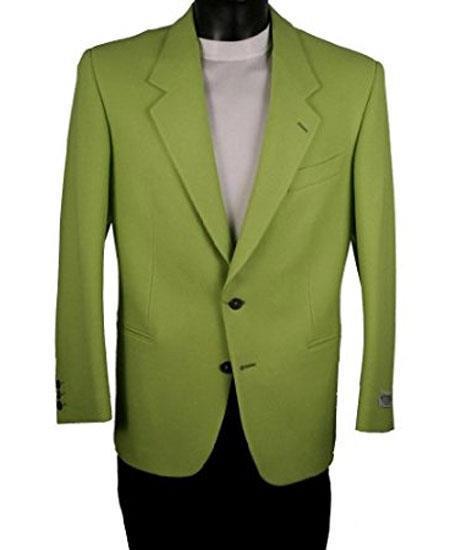 Men's 2 Button Single Breasted Notch Lapel Electric Green Blazer