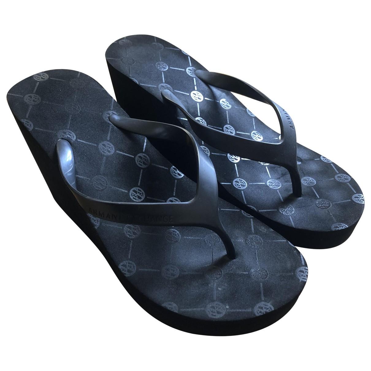 Emporio Armani \N Black Rubber Sandals for Women 37 EU