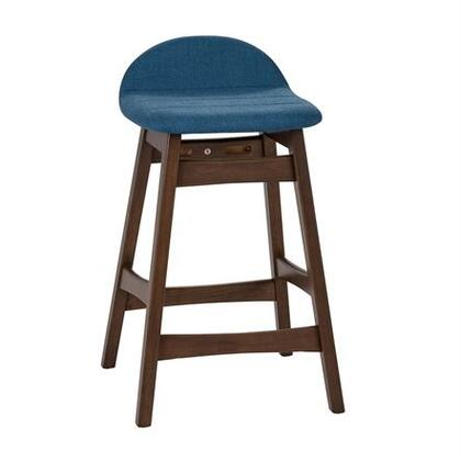 Space Savers Collection 198-B650124-BU Barstool with Tapered Legs  X Center Stretcher and Fully Upholstered Linen in Satin Walnut