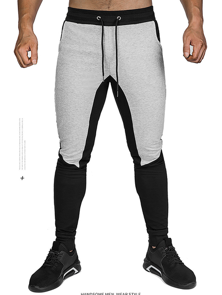 Yoins Men Color Block Spliced Fitness Drawstring Jogger Sweatpants