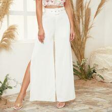 Pantalones de pierna ancha con abertura lateral con cinturon con hebilla