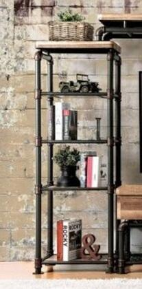 Kebbyll CM5913-PC Pier Cabinet with Pipe-Inspired Frame and 4 Shelves in Antique Black/Natural