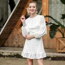 Split Back Ruffle Hem Eyelet Dress