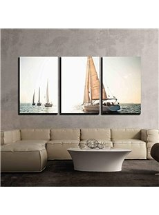 3 Pieces Ship Pattern Hanging Canvas Waterproof Eco-friendly Framed Wall Prints