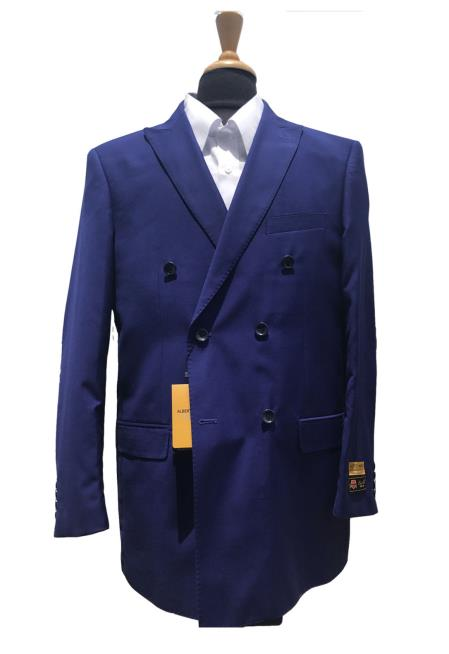 Mens Wool Double indigo Cobalt blue Teal Blazer Sport Coat