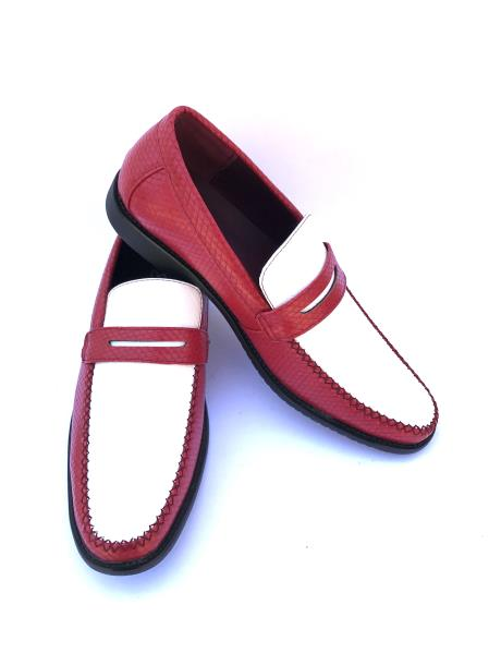 Men's Slip-On Style Gator Fashionable Two Toned Red/white Loafers
